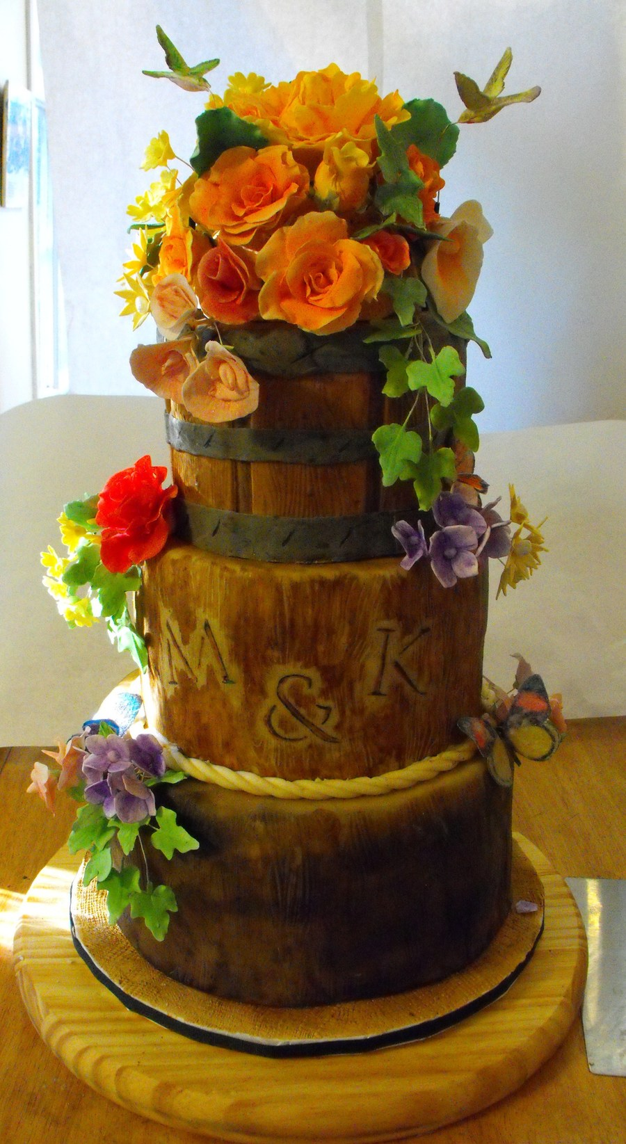 Wood Stumps And Flower Basket Cakecentral Com