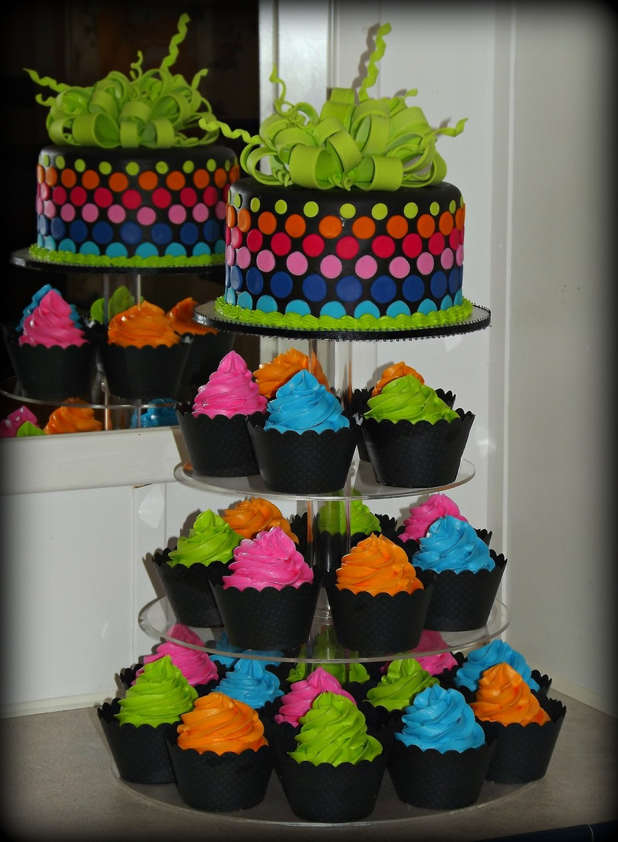 Neon Cake And Cupcake Tower Cakecentral Com