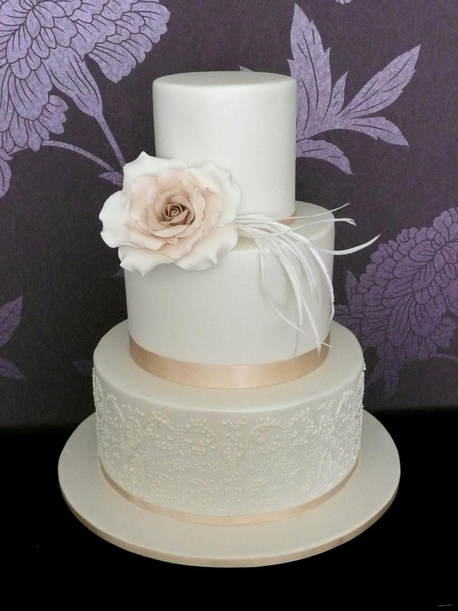 Double Stack Wedding Cake With Ivory Rose