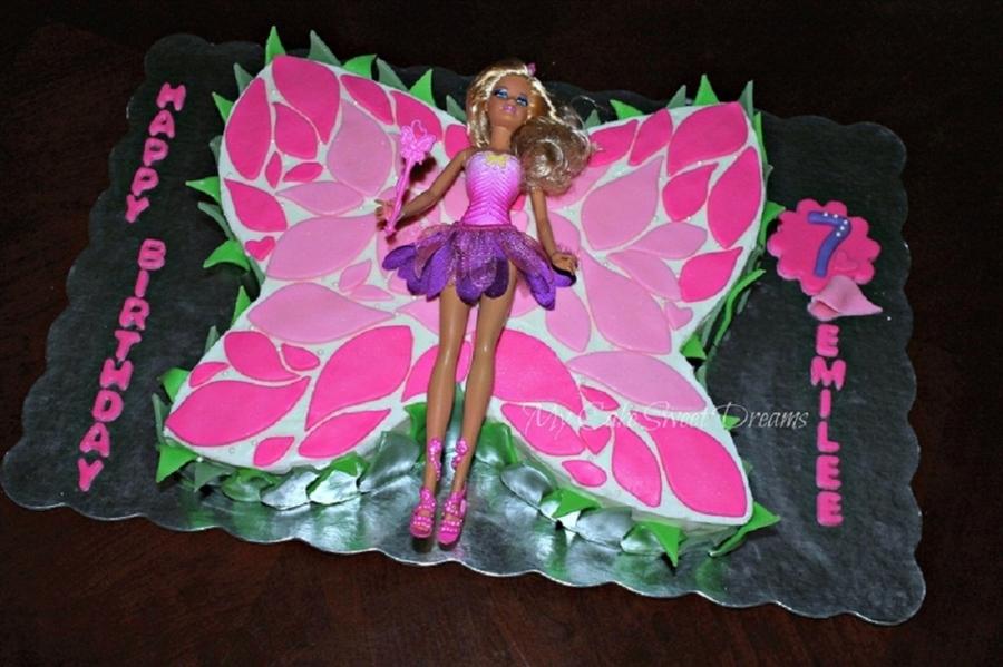 Barbie Butterfly Birthday Cake