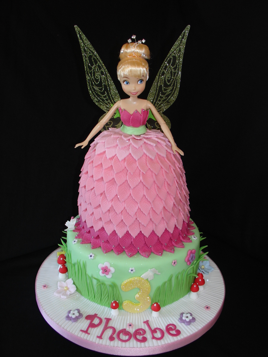 Pink Tinkerbell Doll Dress Fondant Cake With Cupcakes