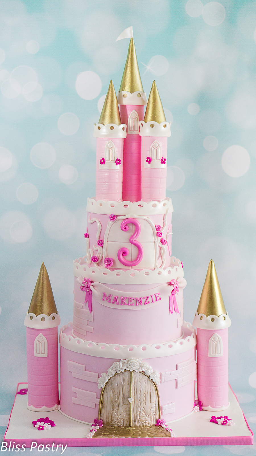 Pink And Gold Princess Castle Cake Cakecentral Com