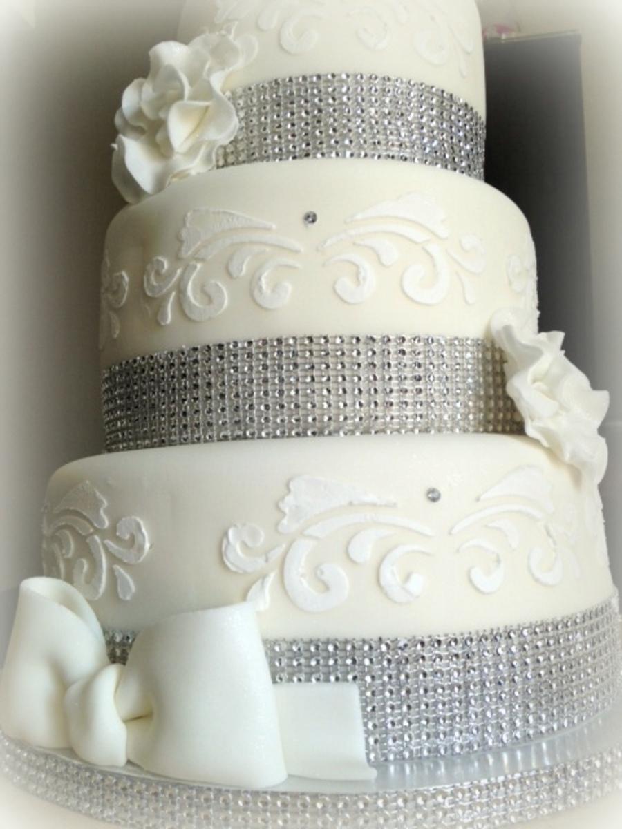 White Amp Silver Christening Cake