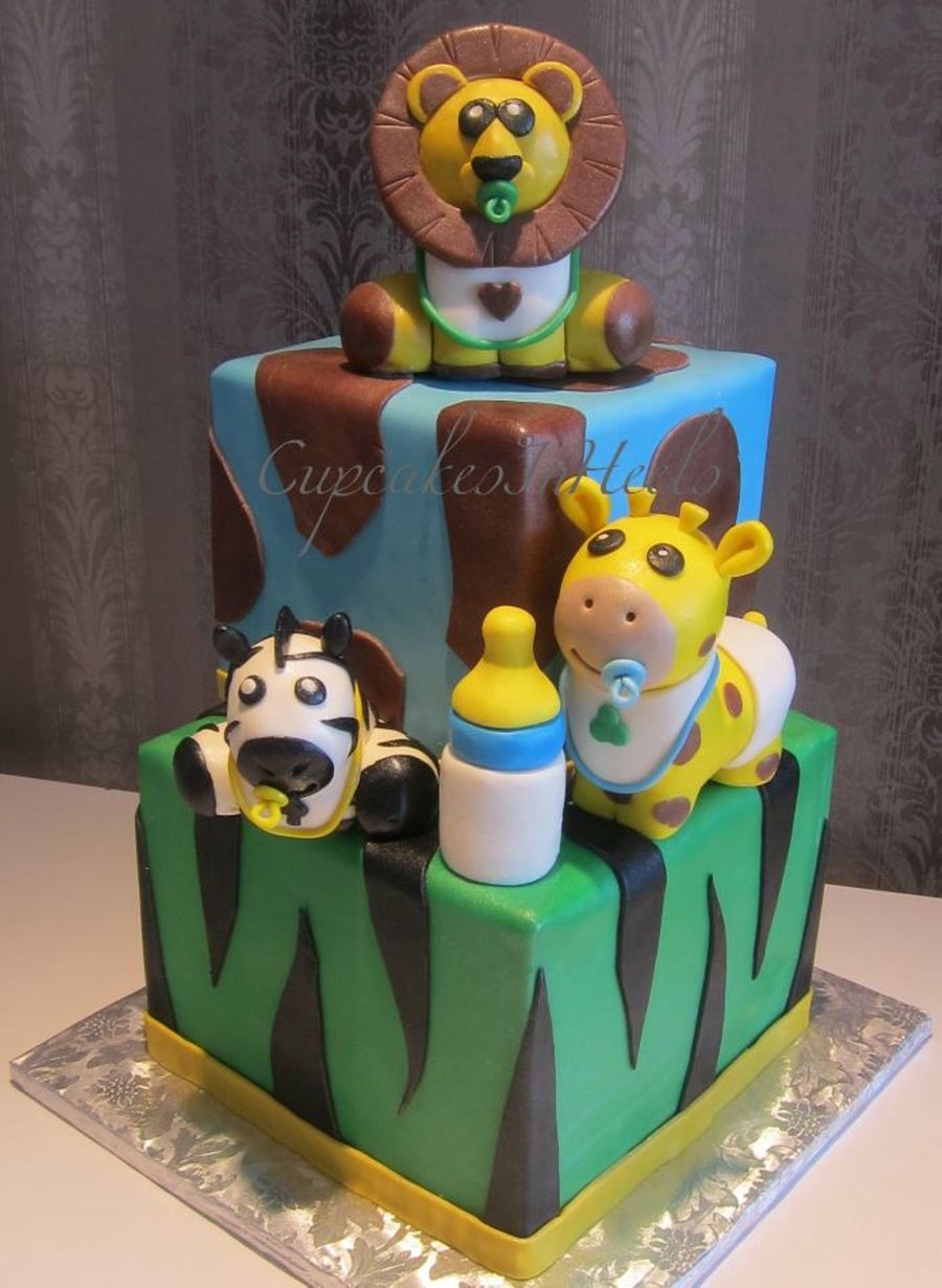 Baby Safari Animals Baby Shower Cake Lion Cakecentral Com