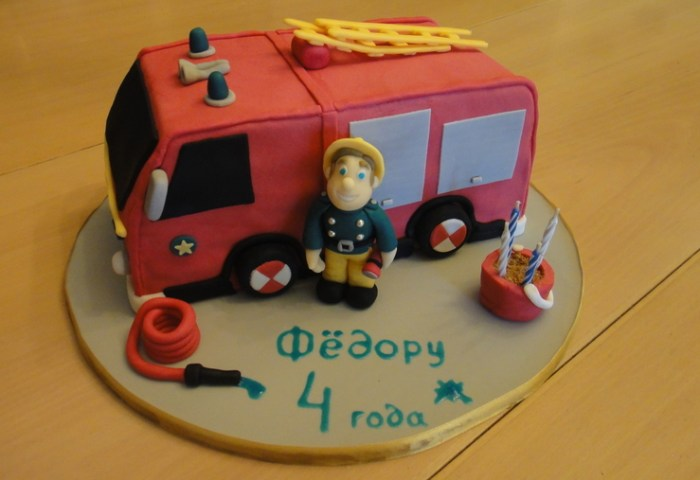 Birthday Cake Was Made For Four Years Old Boy Fireman Sam Is His