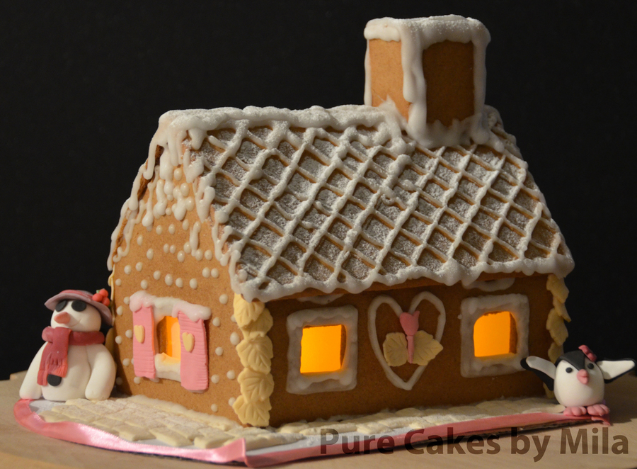 My First Gingerbread House Snow And Assembling With Glaze