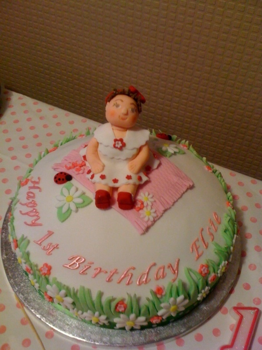 Birthday Cake I Made For My Granddaughter Elsies 1st Birthday My First Figure It Took Me Hours To Do Cakecentral Com
