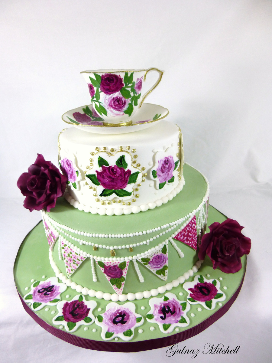 Free Hand Painted English High Tea Theme Cake With Hand