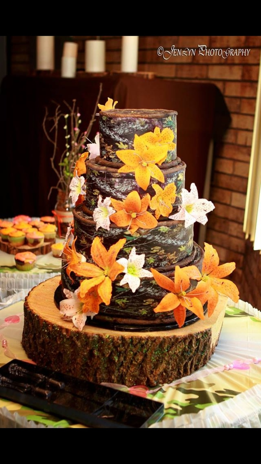 Wedding Cake With Pink And Hunter Orange Lilies For A