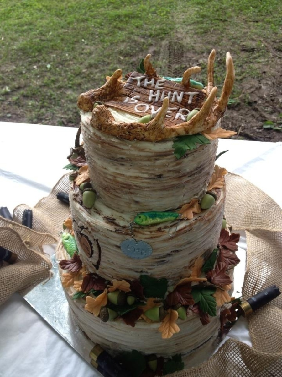 Hunting And Fishing Theme Grooms Cake