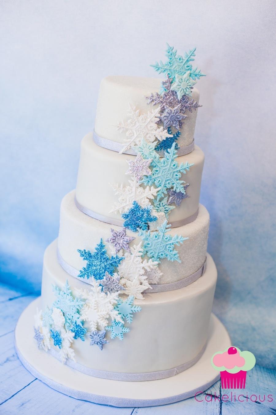 Sparkly Blue Cascading Snowflake Cake Cakecentral Com