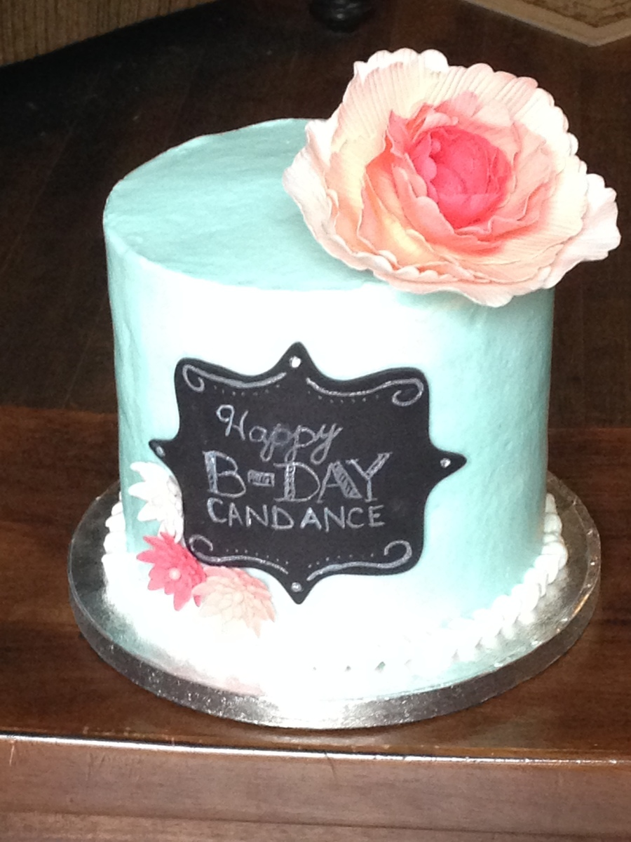 Mint And Coral Cake With Chalkboard Plaque Cakecentral Com