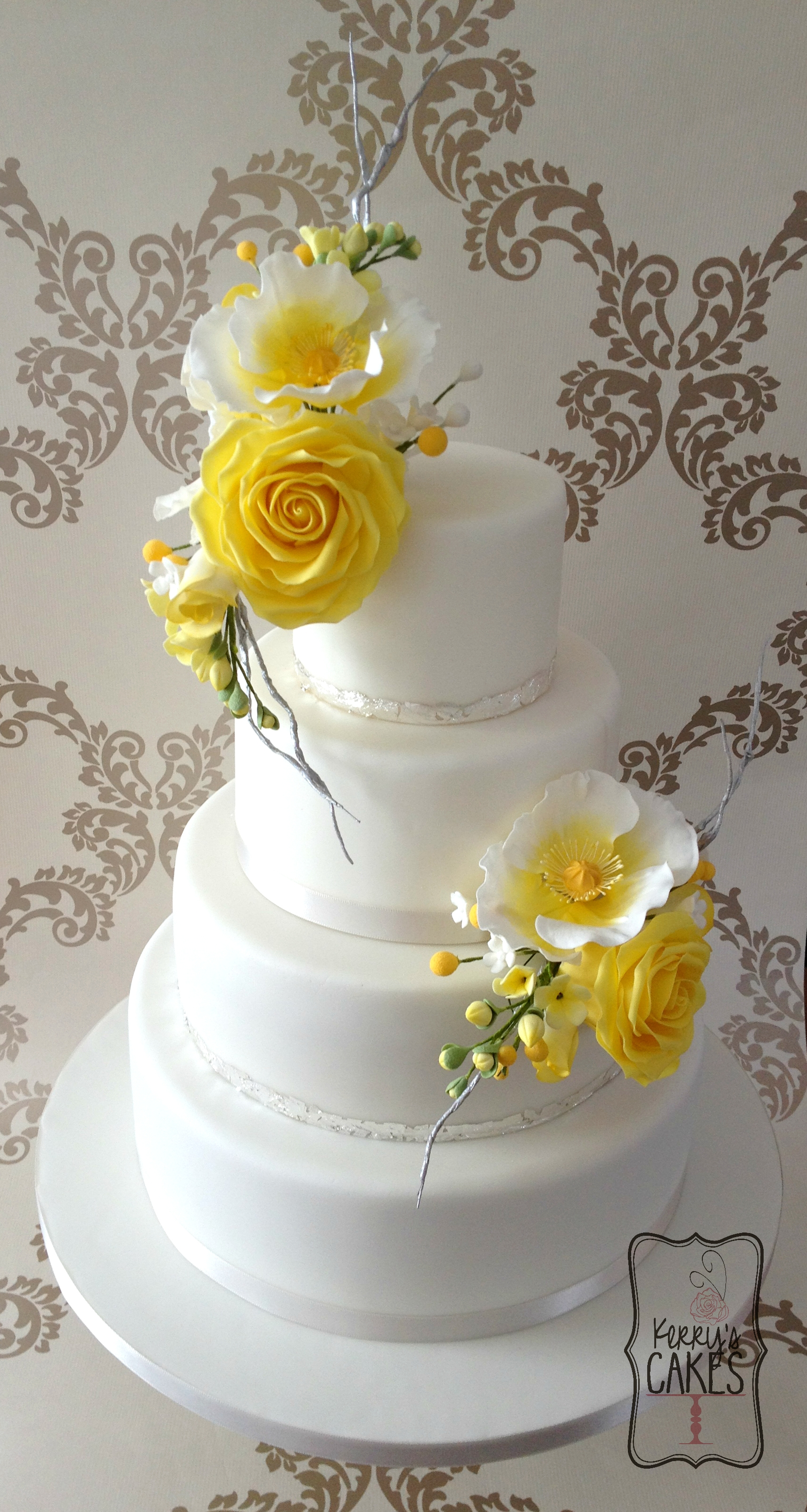 Yellow Floral Wedding Cake Cakecentral Com