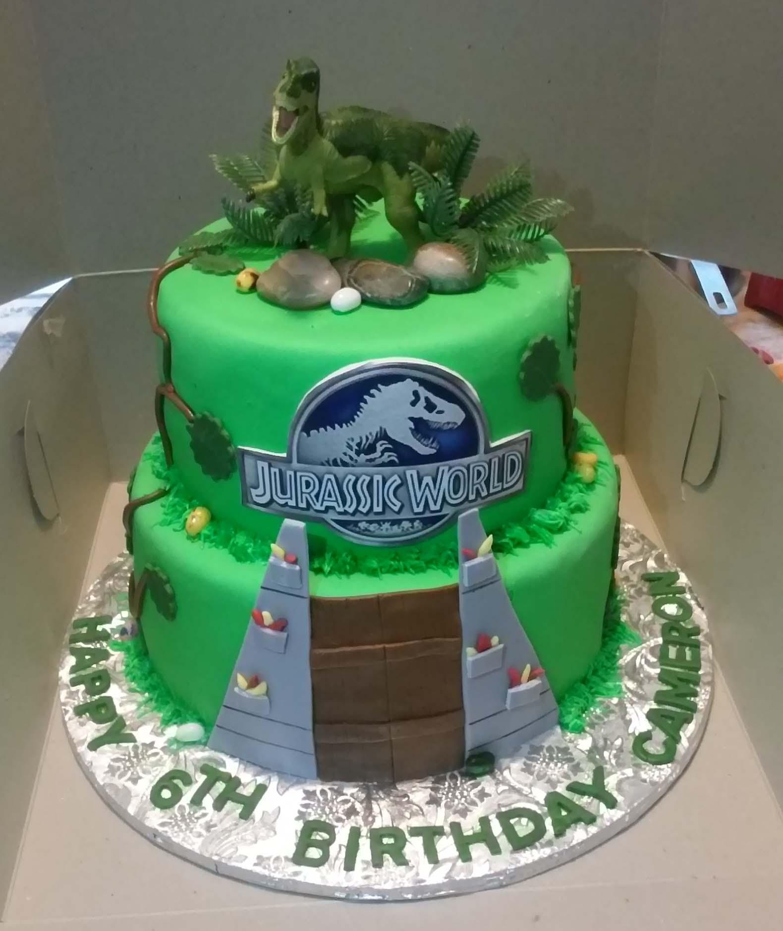 2 Tier Jurassic World Themed Birthday Cake