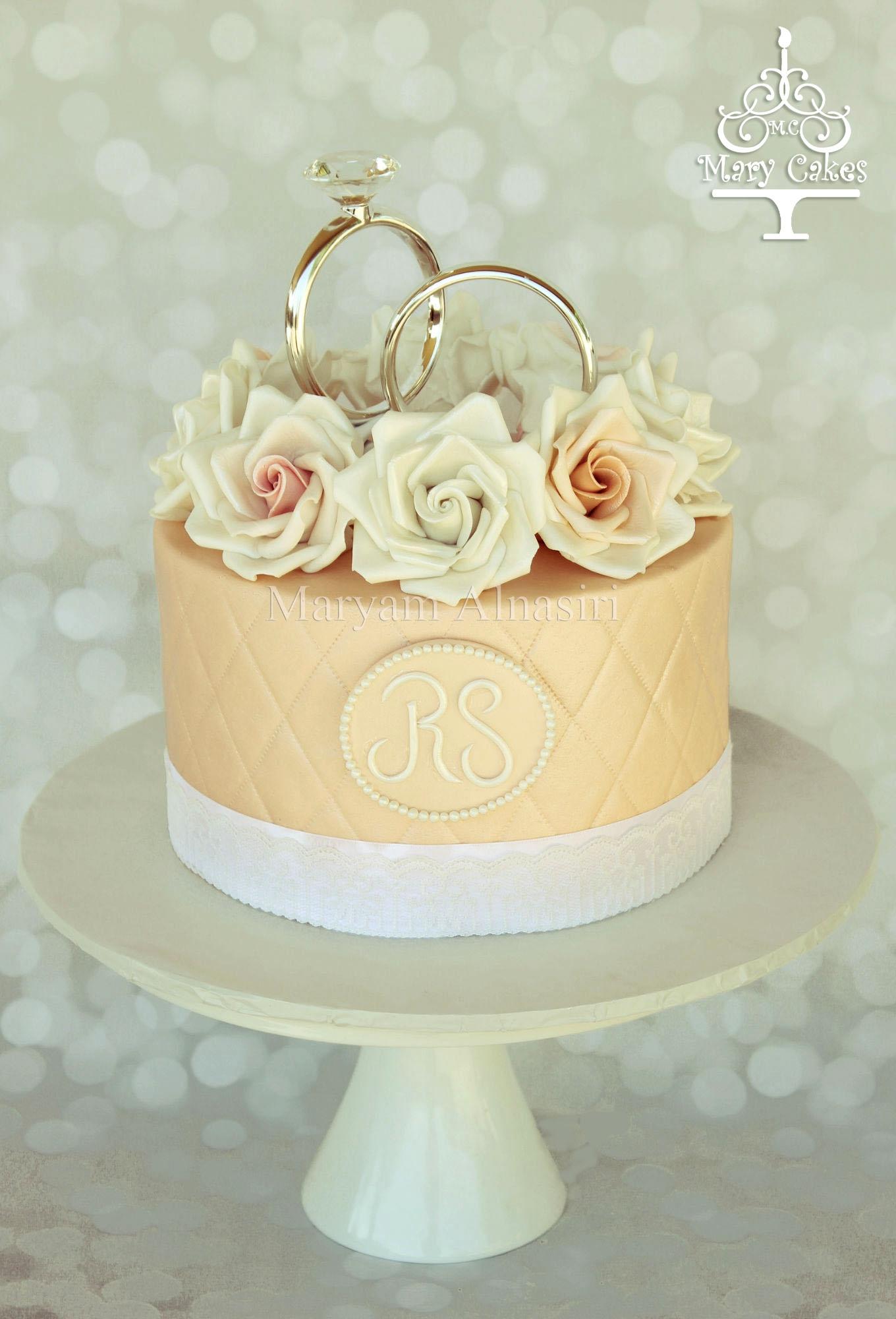 Engagement Cake Ring Topper Roses
