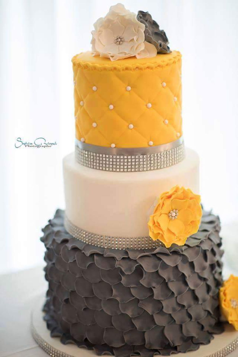 Grey And Yellow Wedding Cake   CakeCentral com Grey And Yellow Wedding Cake on Cake Central