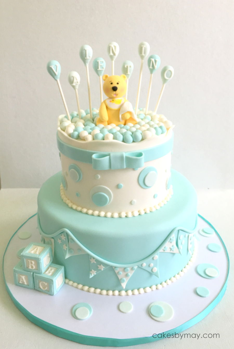 Teddy Bear And Balloons Boy Baby Shower Cakecentral Com