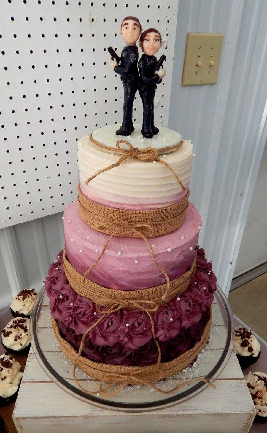 Burgundy Ombre Rustic Wedding Cake