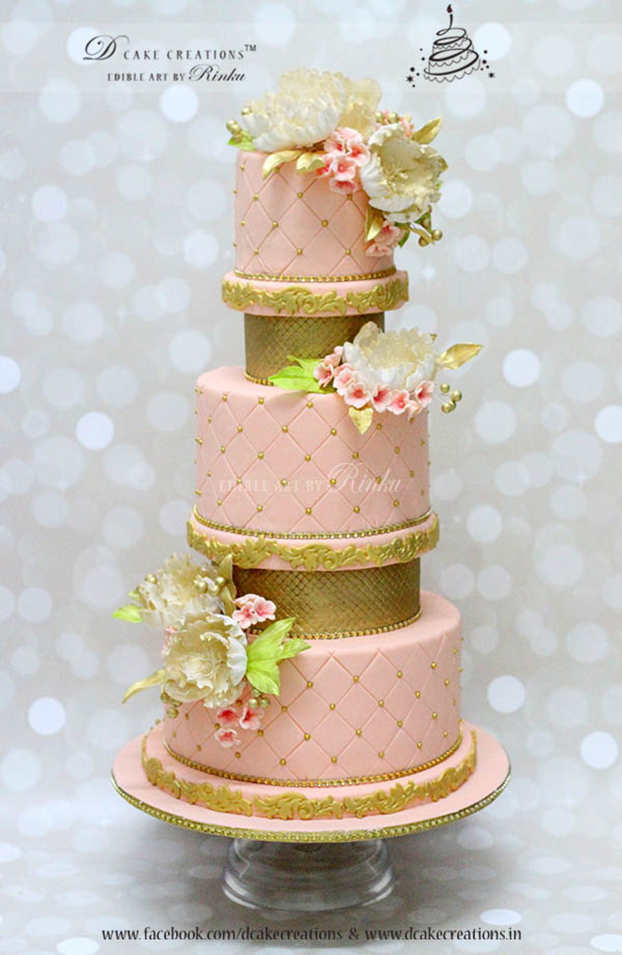 Five Tier Pink And Gold Wedding Cake