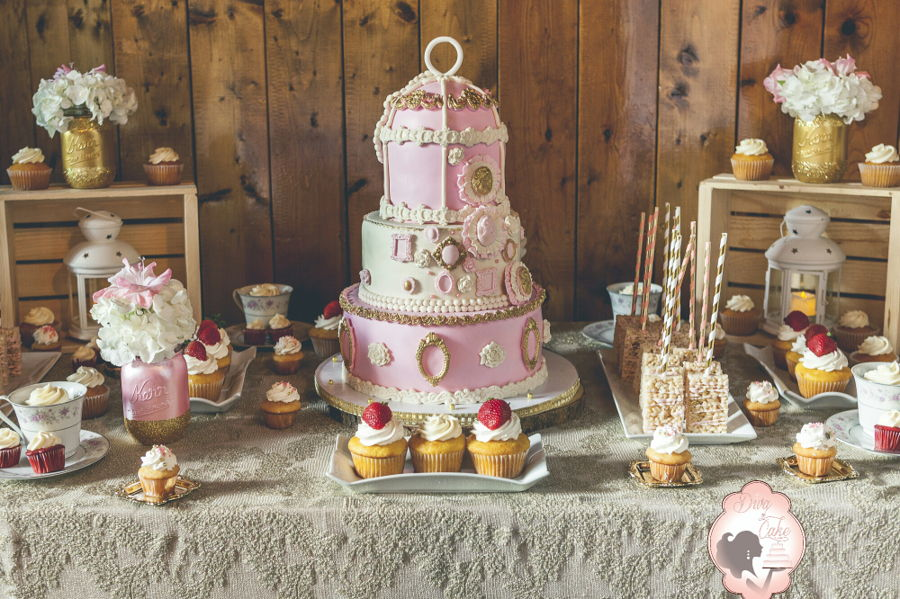 Shabby Chic Wedding Cake And Sweet Table