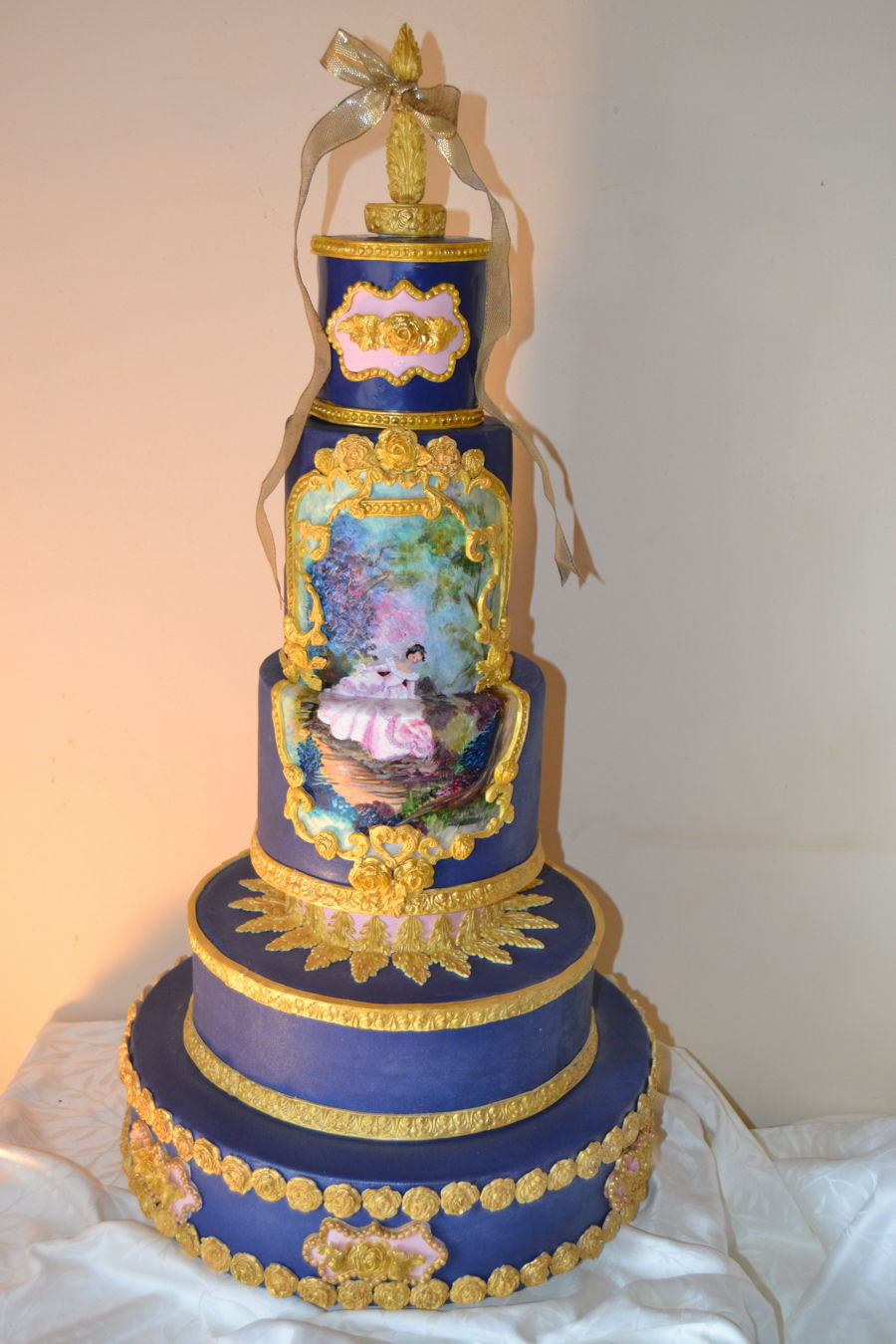 Navy And Gold Hand Painted Wedding Cake Cakecentral Com