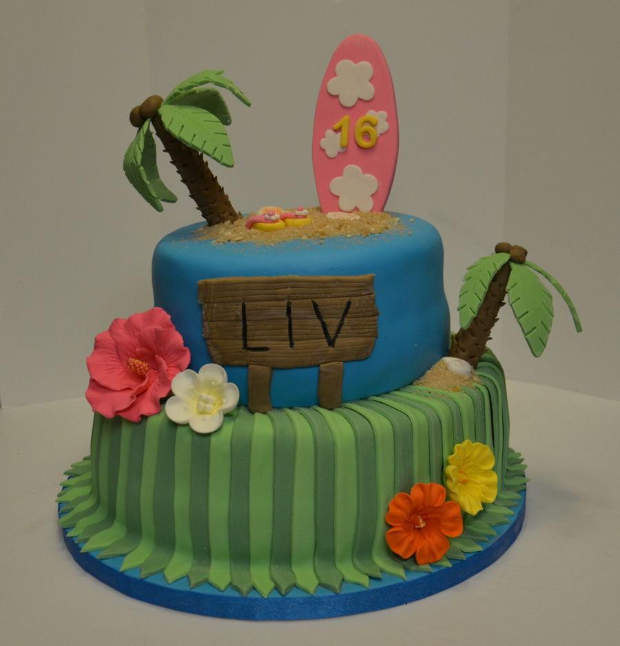 Hawaiian Themed Birthday Cake Cakecentral Com