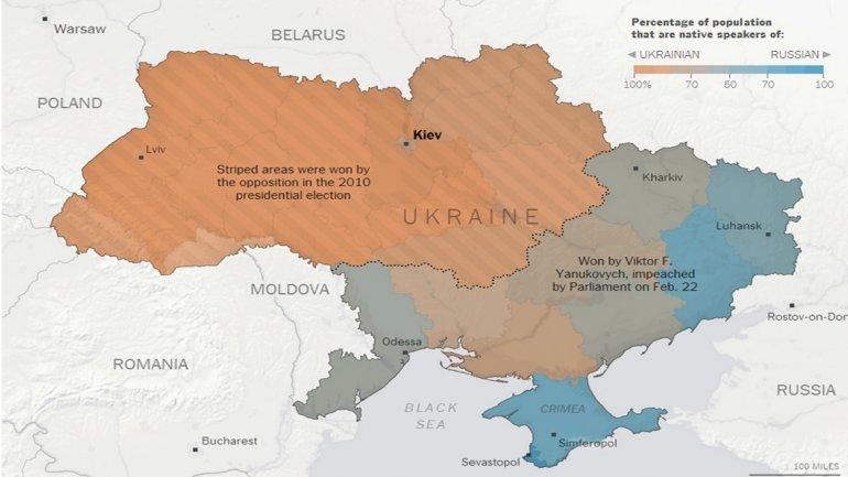 Lazona naranjaes prooccidental, laazules prorrusa. Las barras indican la franja donde ganó la oposición en las elecciones de 2010. El resto apoyó a Yanukovich, destituido el 22 de febrero