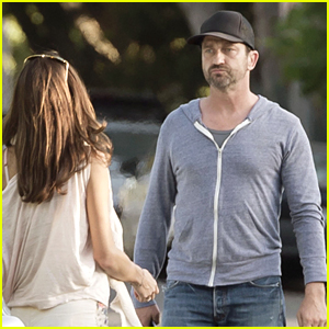 Gerard Butler & Girlfriend Morgan Brown Share a Kiss During Thursday Outing