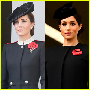 Duchesses Kate Middleton & Meghan Markle Attend Remembrance Day with Their Husbands