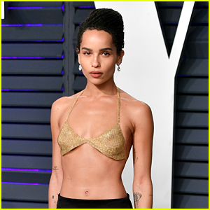 Zoe Kravitz Wears Gold Bra to Vanity Fair's Oscars 2019 Party