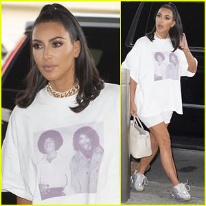Kim Kardashian Wears Michael Jackson & Prince Shirt at JFK Airport