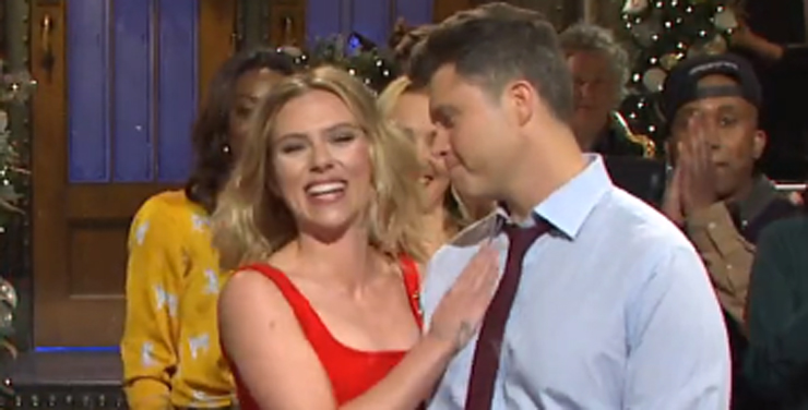 Scarlett Johansson Jokes About Engagement to Colin Jost in