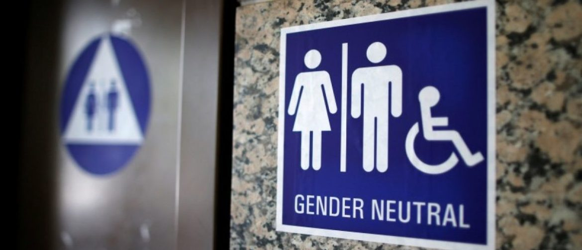 A gender neutral restroom is seen in a city building in Los Angeles, California, U.S., May 14, 2016. REUTERS/Lucy Nicholson