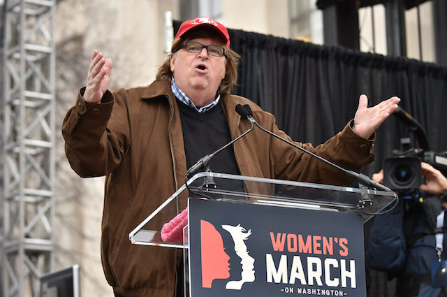WASHINGTON, DC - JANUARY 21: Michael Moore speaks onstage at the rally at the Women's March on Washington on January 21, 2017 in Washington, DC. (Photo by Theo Wargo/Getty Images)