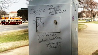 The vandal wrote on a utility box at the corner of Jefferson and 15th SW: Ted Goodman/TheDCNF