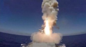 A still image taken from a video footage and released by Russia's Defence Ministry on May 31, 2017, shows a missile being fired from a Russian warship to hit, according to the Russian Defence Ministry, Islamic State targets near the Syrian city of Palmyra, from the Mediterranean. Ministry of Defence of the Russian Federation/Handout via REUTERS TV