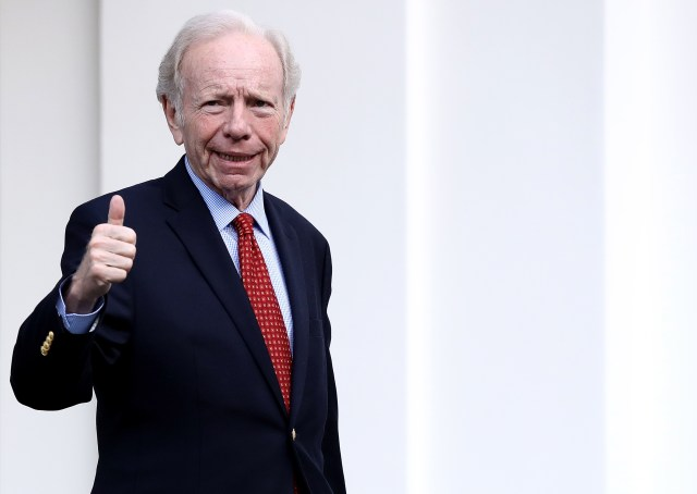 WASHINGTON, DC - MAY 17: Former U.S. Sen. Joseph Lieberman departs the White House after meeting with U.S. President Donald Trump May 17, 2017 in Washington, DC. Trump is interviewing candidates to replace former FBI Director James Comey who was fired last week. (Photo by Win McNamee/Getty Images)