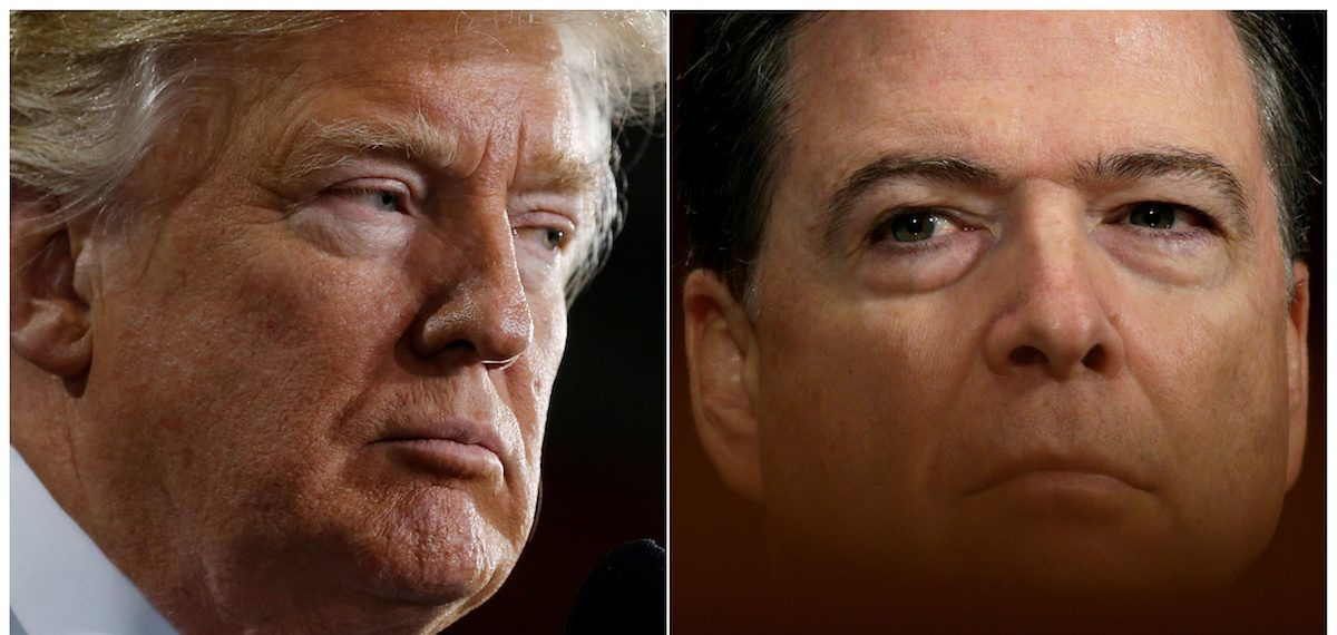 U.S. President Donald Trump (L) speaks in Ypilanti Township, Michigan March 15, 2017 and FBI Director James Comey testifies before a Senate Judiciary Committee hearing in Washington, D.C., May 3, 2017 in a combination of file photos. REUTERS/Jonathan Ernst/Kevin Lamarque/File Photos - RTX36NXD