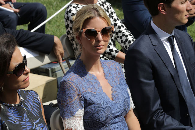 WASHINGTON, DC - JULY 25: (L-R) White House Deputy National Security Advisor Dina Powell, Ivanka Trump and Senior Advisor to the President Jared Kushner attend a news conference with U.S. President Donald Trump and Lebanese Prime Minister Saad Hariri in the Rose Garden at the White House July 25, 2017 in Washington, DC. Trump began the news conference by announcing that Senate Republicans had passed a procedural vote on repealing Obamacare. (Photo by Chip Somodevilla/Getty Images)