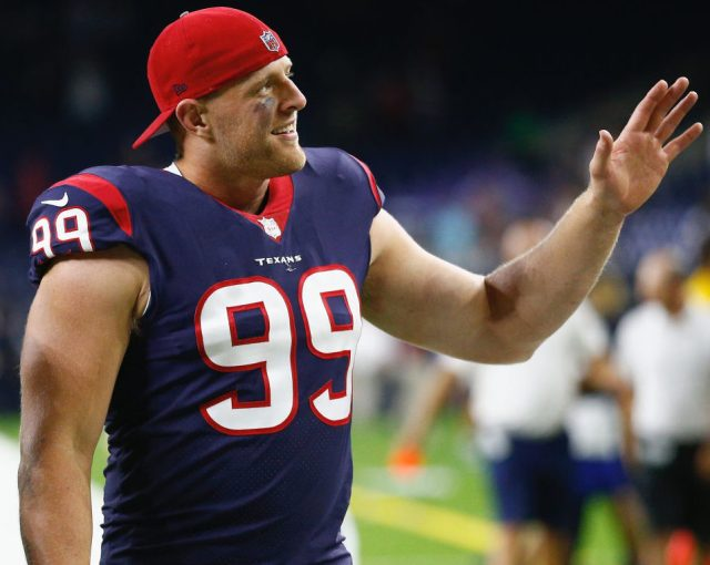 J.J. Watt #99 of the Houston Texans waves to fans as he leaves the field after the Houston Texans defeated the New England Patriots 27-23 at NRG Stadium on August 19, 2017 in Houston, Texas. (Photo by Bob Levey/Getty Images)
