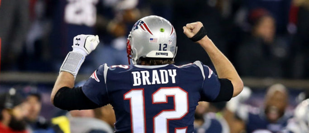 FOXBOROUGH, MA - JANUARY 21: Tom Brady #12 of the New England Patriots reacts in the fourth quarter  during the AFC Championship Game against the Jacksonville Jaguars at Gillette Stadium on January 21, 2018 in Foxborough, Massachusetts.  (Photo by Adam Glanzman/Getty Images)