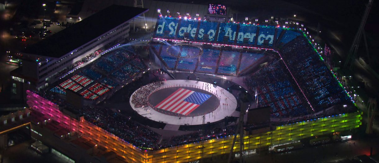 In this handout image, made from video, provided by OBS-IOC, athletes are introduced during the opening ceremony of the 2018 Winter Olympics on February 9, 2018 in Pyeongchang, South Korea, (Photo by OBS-IOC via Getty Images)