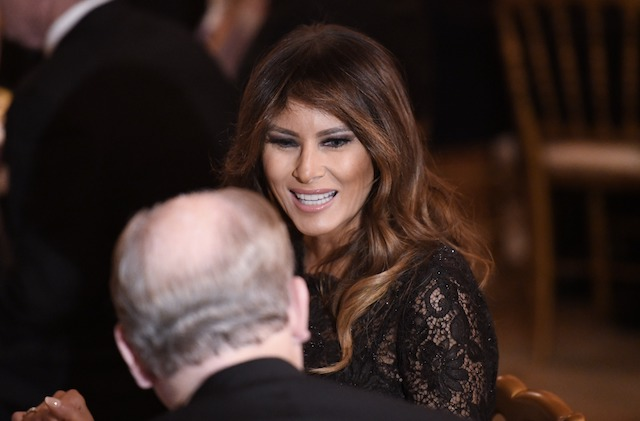WASHINGTON, DC - FEBRUARY 25: First Lady Melania Trump attends the Governors' Ball at the White House on February 25, 2018 in Washington, DC. (Photo by Olivier Douliery-Pool/Getty Images)