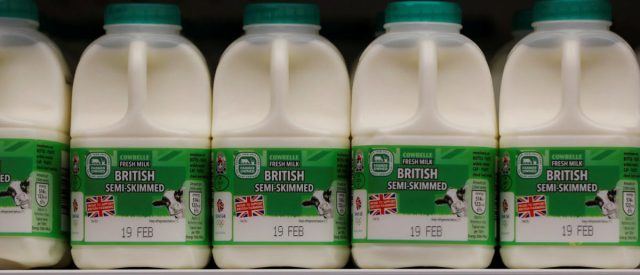 Milk is displayed at the Aldi store in Atherstone, Britain February 9, 2017. Picture taken February 9, 2017. REUTERS/Darren Staples