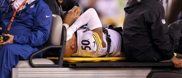 CINCINNATI, OH - DECEMBER 04:  Ryan Shazier #50 of the Pittsburgh Steelers reacts as he is carted off the field after a injury against the Cincinnati Bengals during the first half at Paul Brown Stadium on December 4, 2017 in Cincinnati, Ohio.  (Photo by John Grieshop/Getty Images)
