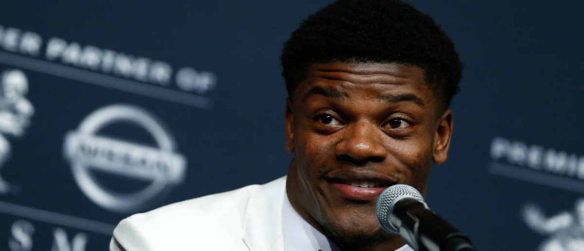 NEW YORK, NY - DECEMBER 09: Lamar Jackson of Louisville speaks at the press conference for the 2017 Heisman Trophy Presentation on December 9, 2017 in New York City. (Photo by Jeff Zelevansky/Getty Images)