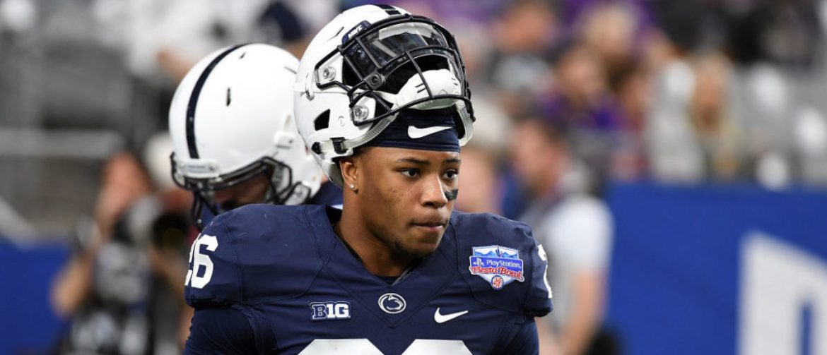 GLENDALE, AZ - DECEMBER 30:  Saquon Barkley #26 of Penn State Nittany Lions prepares for a game against the Washington Huskies during the Playstation Fiesta Bowl at University of Phoenix Stadium on December 30, 2017 in Glendale, Arizona.  (Photo by Norm Hall/Getty Images)