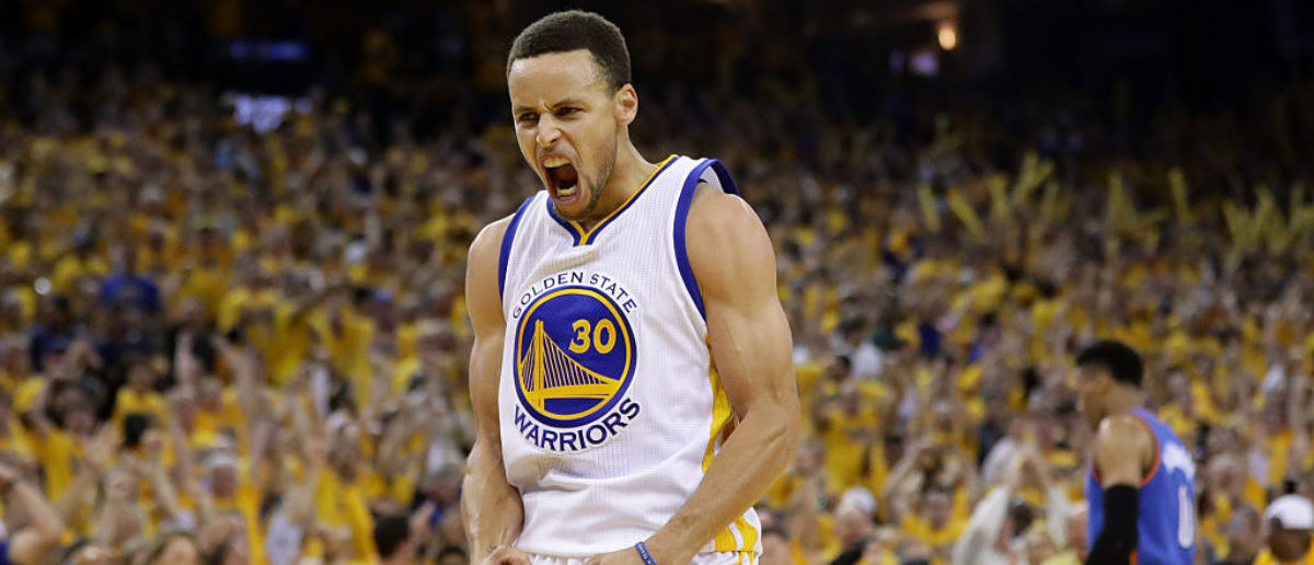 OAKLAND, CA - MAY 30: Stephen Curry #30 of the Golden State Warriors reacts in the third quarter of Game Seven of the Western Conference Finals against the Oklahoma City Thunder during the 2016 NBA Playoffs at ORACLE Arena on May 30, 2016 in Oakland, California. (Photo by Ezra Shaw/Getty Images)