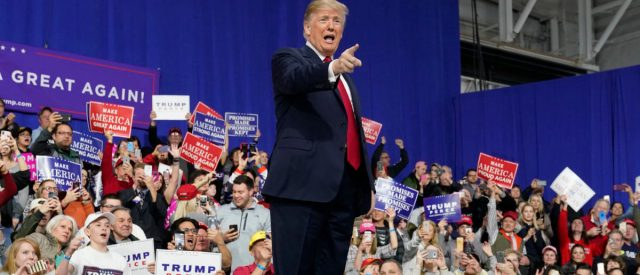 U.S. President Donald Trump points at supporters after speaking in support of Republican congressional candidate Rick Sacconne during a Make America Great Again rally in Moon Township, Pennsylvania, U.S., March 10, 2018. REUTERS/Joshua Roberts