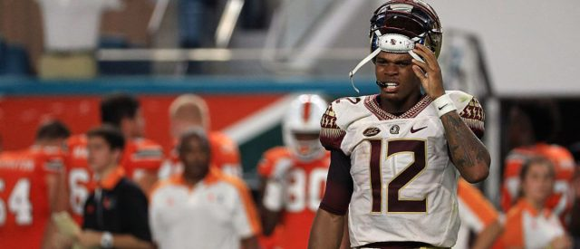 MIAMI GARDENS, FL - OCTOBER 08: Deondre Francois #12 of the Florida State Seminoles walks off the field after being injured during a game against the Miami Hurricanes at Hard Rock Stadium on October 8, 2016 in Miami Gardens, Florida. (Photo by Mike Ehrmann/Getty Images)